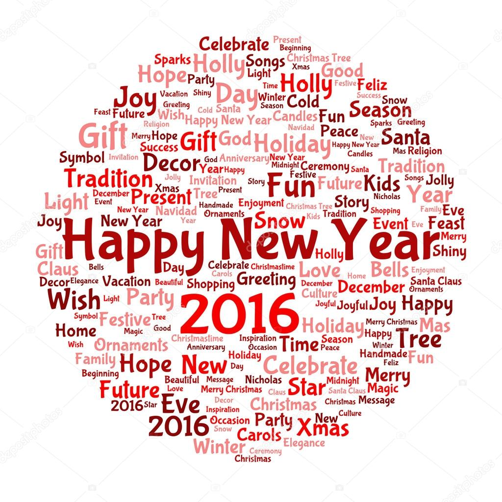 Happy New Year word cloud — Stock Photo © design36 #95389030