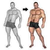 Bodybuilder vor und nach