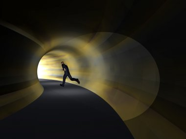 business man,  tunnel with light at the end background