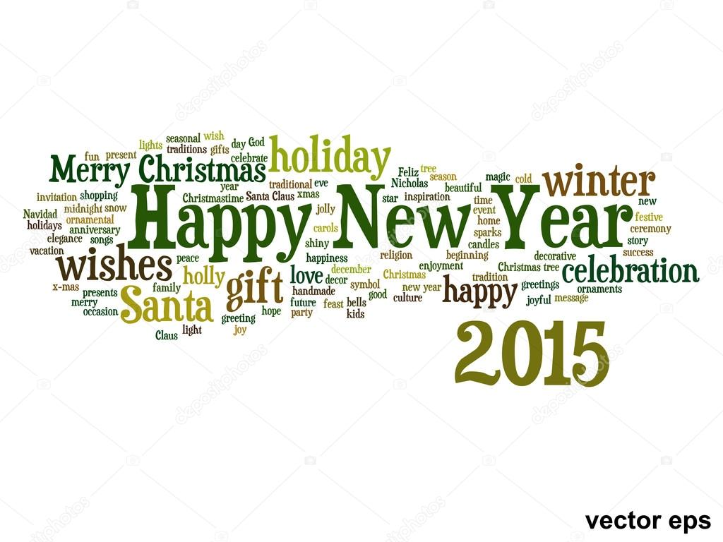 conceptual happy new year 2015 word cloud concept isolated vector by design36