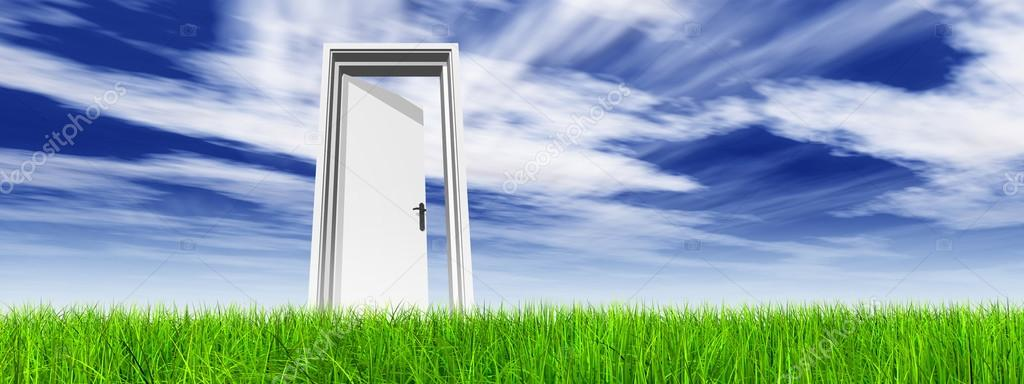 High Resolution Green Fresh And Natural 3d Conceptual Grass Over A Blue Sky Background Banner A Opened Door At Horizon Stock Photo C Design36 96285048
