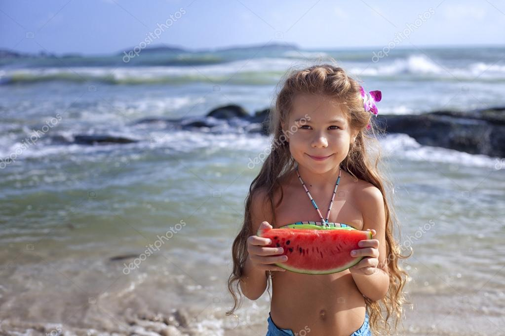 The girl with watermelon