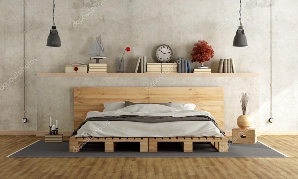 Chambre Avec Lit Double Palette Photographie Archideaphoto