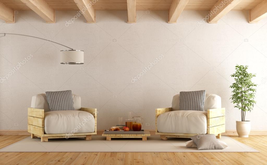 Modernen Wohnzimmer Mit Paletten Sesseln Und Kaffee Tisch   3d Rendering U2014  Foto Von Archideaphoto