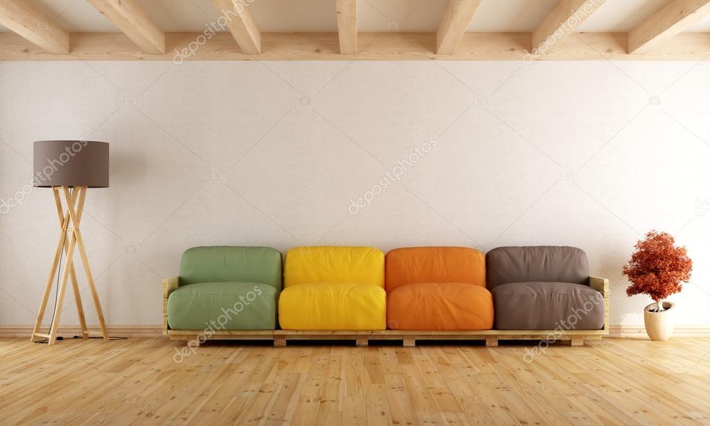 Salotto con divano pallet colorato di bianco foto stock archideaphoto 100216900 - Divano con pallet ...