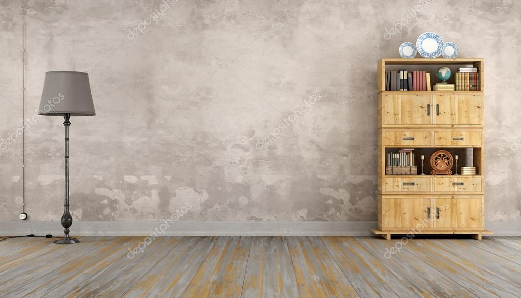 Retro kamer met boekenkast — Stockfoto © archideaphoto #101538774