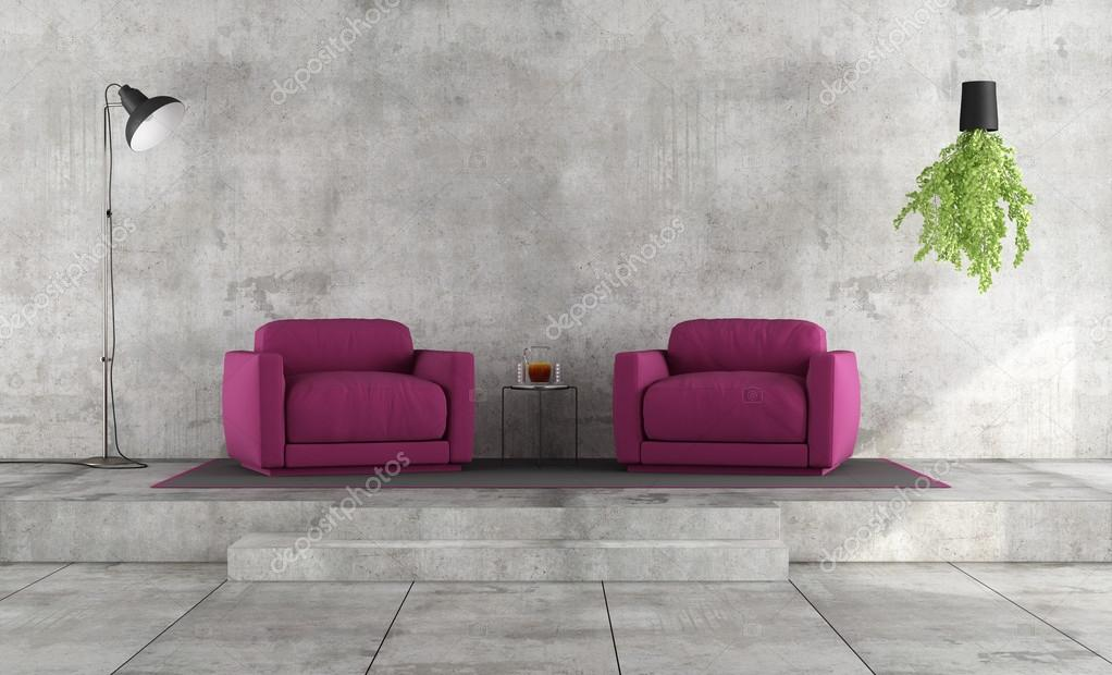 Minimalist Living Room With Purple Armchairs U2014 Stock Photo