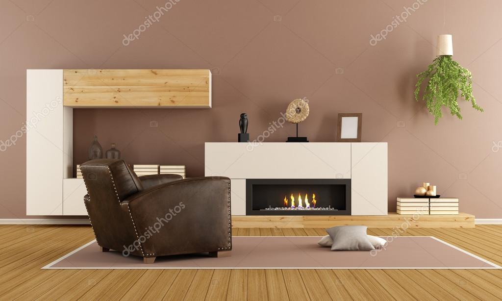 Moderno salotto con caminetto foto stock archideaphoto for Foto salotto