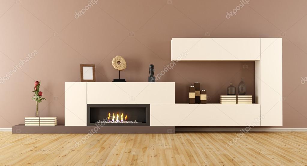 Minimalistische woonkamer met open haard u stockfoto
