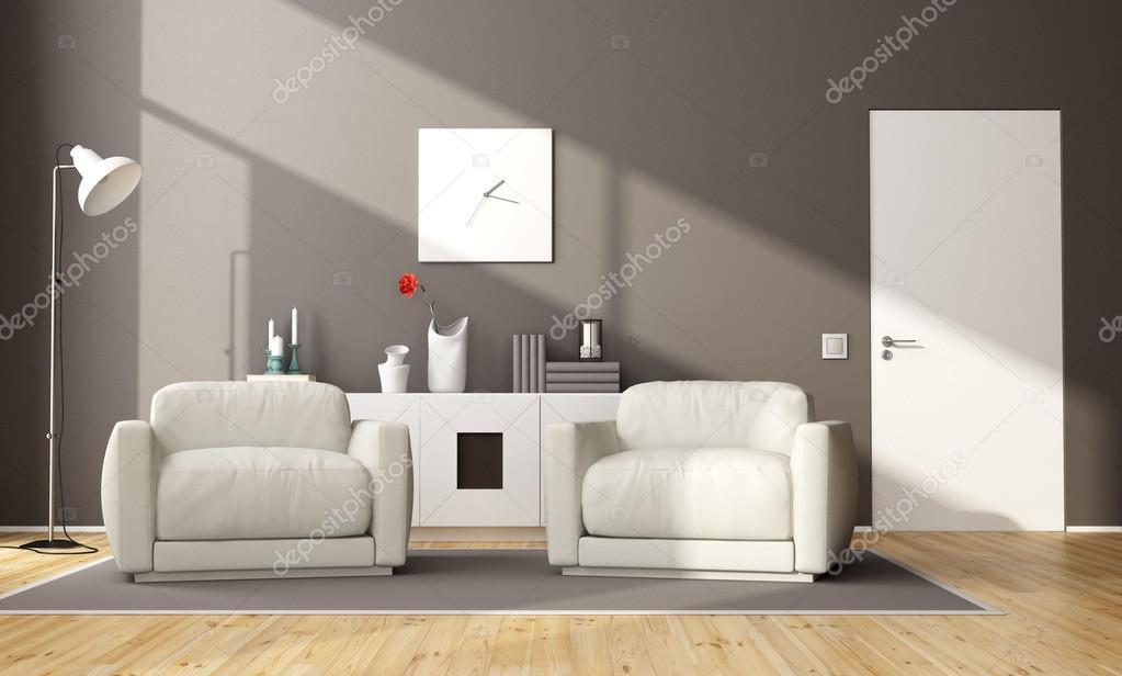Credenza Moderna Marrone : Salone moderno marrone u foto stock archideaphoto