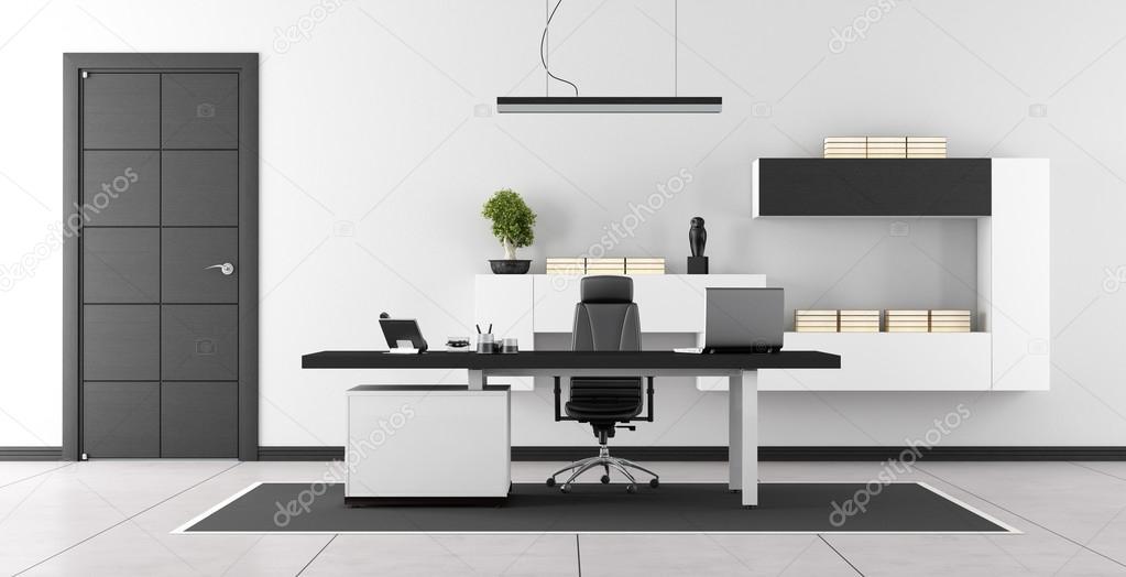 Bureau Moderne Design Noir : Bureau moderne noir et blanc u photographie archideaphoto