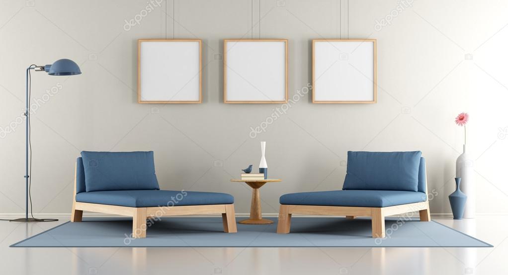 Modern Salon Avec Banquette Lit Bleu Photographie