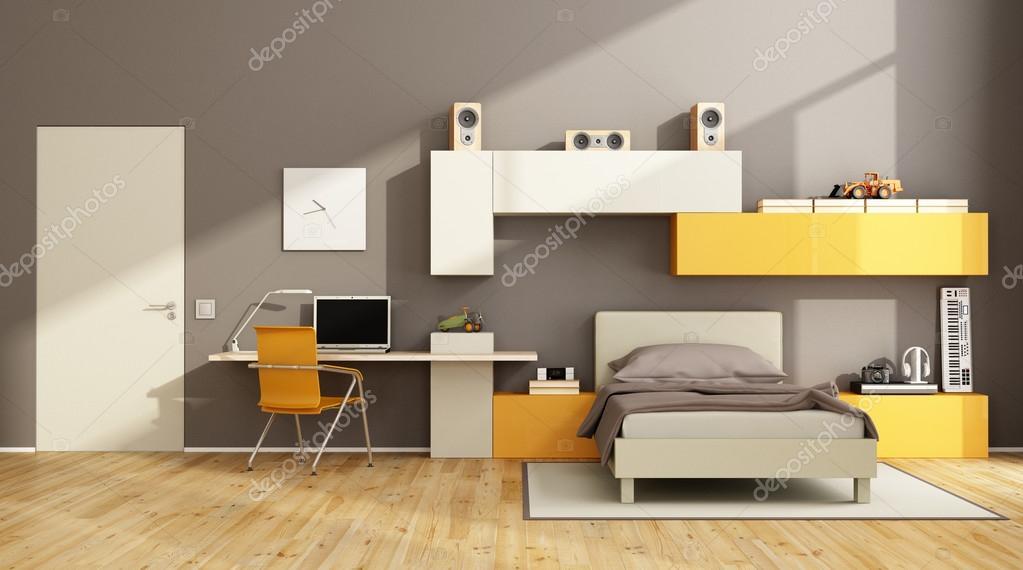 Braun Und Orange Teenager Schlafzimmer Stockfoto C Archideaphoto