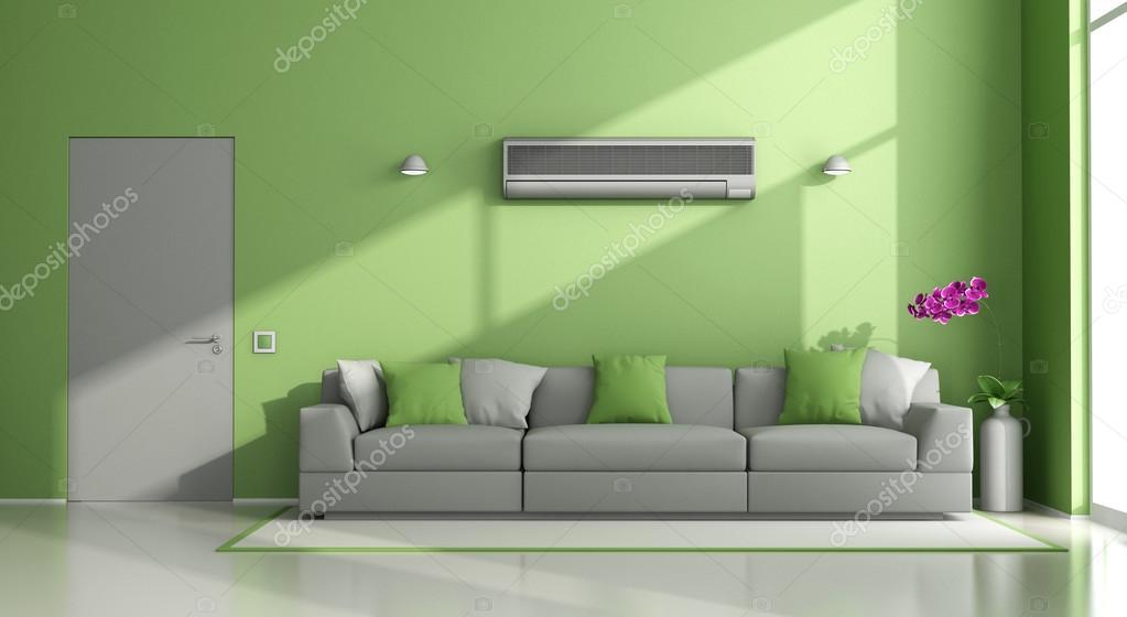 Salotto moderno verde e grigio con condizionatore d 39 aria foto stock archideaphoto 109066262 - Tappeti moderni verde acido ...