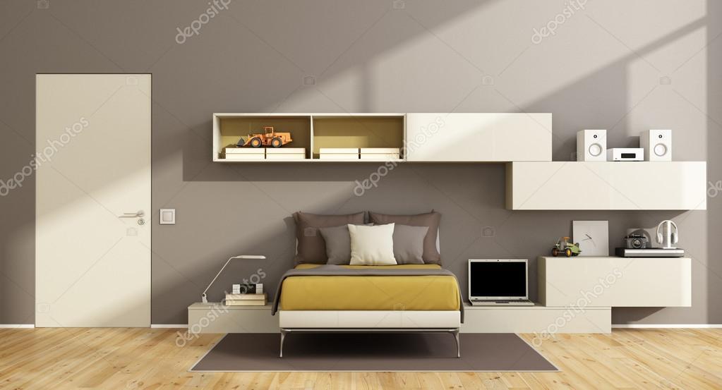 Moderne tiener slaapkamer — Stockfoto © archideaphoto #109610490