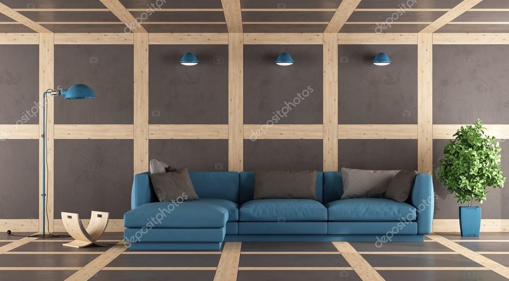 Bruin en blauw moderne lounge u2014 stockfoto © archideaphoto #111017236