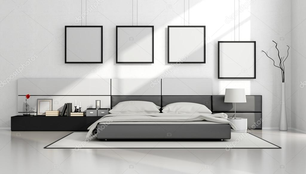 Black and white minimalist bedroom stock photo for Minimalist black and white bedroom