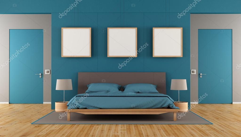 Charmant Bleu Et Marron Moderne Chambre à Coucher Avec Lit Double, Trame Vierge Et  Deux Fermés De Porte 3d   Rendu U2014 Image De ...