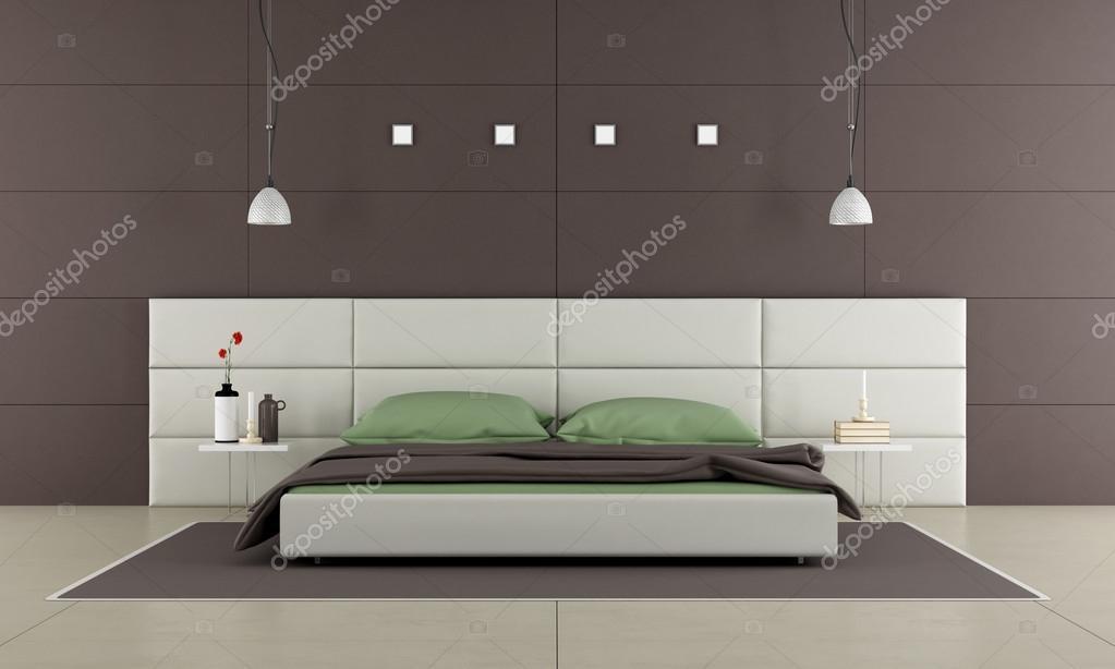 Bruine Slaapkamer Muur : Bruin slaapkamer met moderne bed u stockfoto archideaphoto
