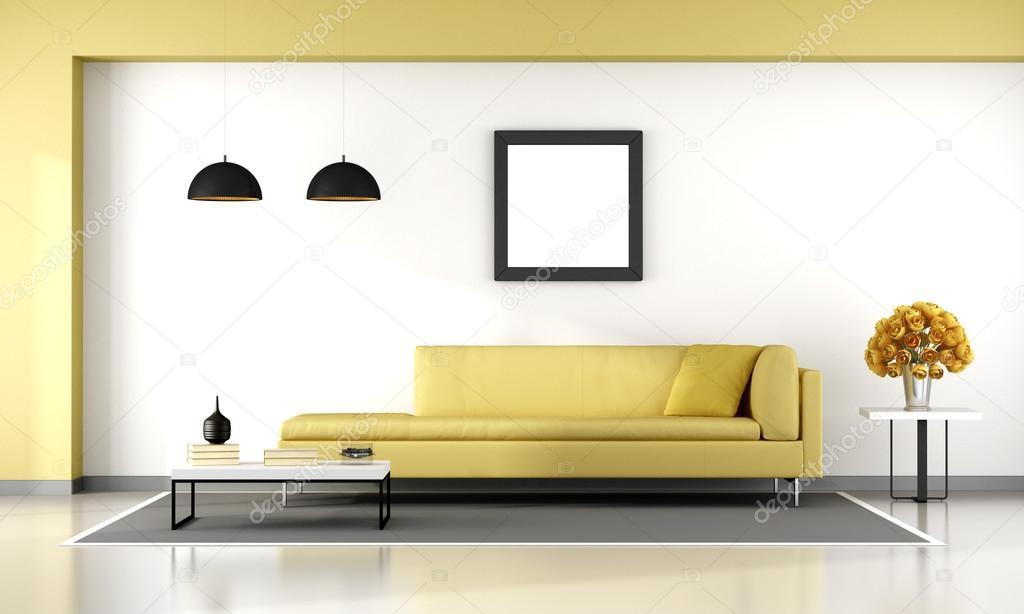 Geel en wit woonkamer — Stockfoto © archideaphoto #114115558