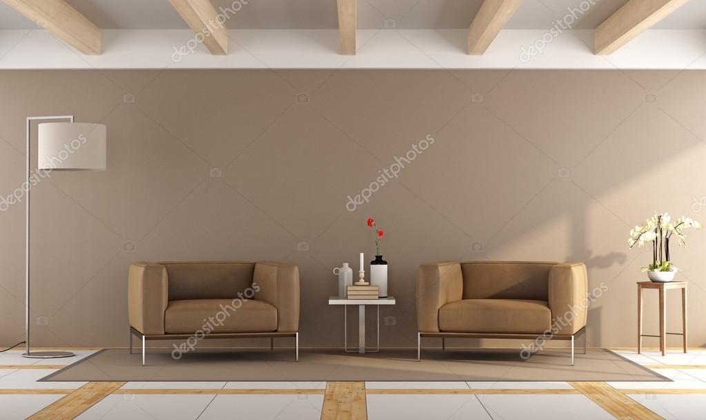 braun moderne Wohnzimmer — Stockfoto © archideaphoto #114115582