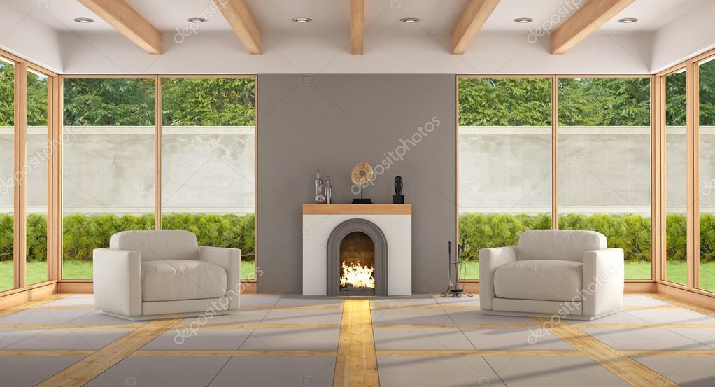 Salon Moderne Foyer : Salon moderne avec foyer — photo