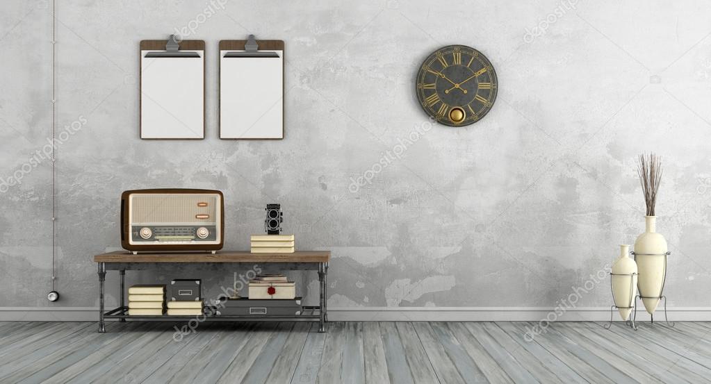 Good vintage woonkamer met oude radio stockfoto with for Vintage woonkamer