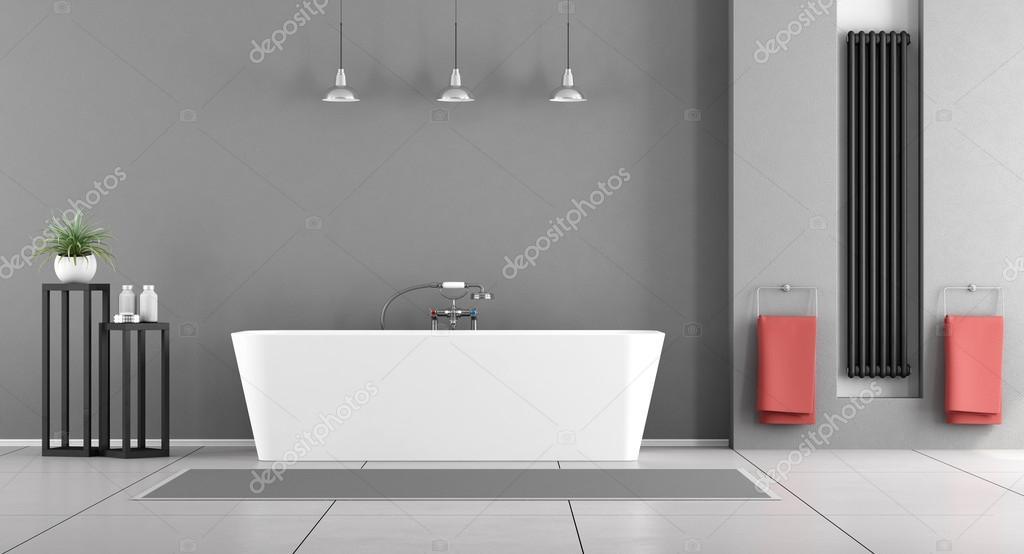 Moderne grijze badkamer u stockfoto archideaphoto