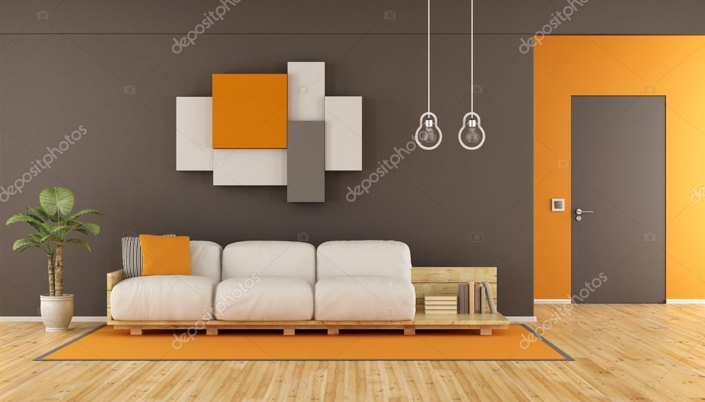 Salon moderne en marron et orange — Photographie ...