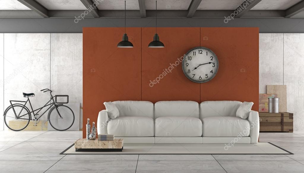 Industriele Loft Woonkamer : Woonkamer in industriële stijl u stockfoto archideaphoto