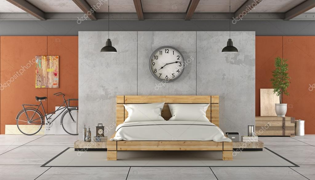 Camera da letto in stile industriale foto stock for Piani letto stile missione