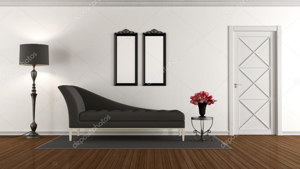 Zwart-wit retro woonkamer — Stockfoto © archideaphoto #117891106