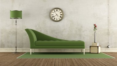 Green and white retro living room