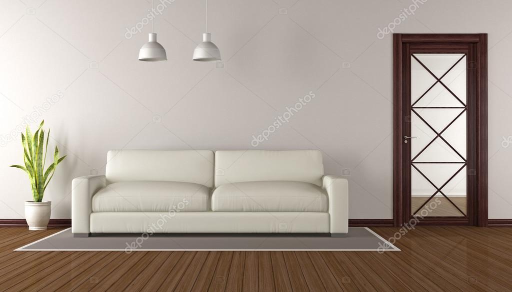 Modernes Wohnzimmer Mit Holz Glas Tür 3d Rendering Stockfoto