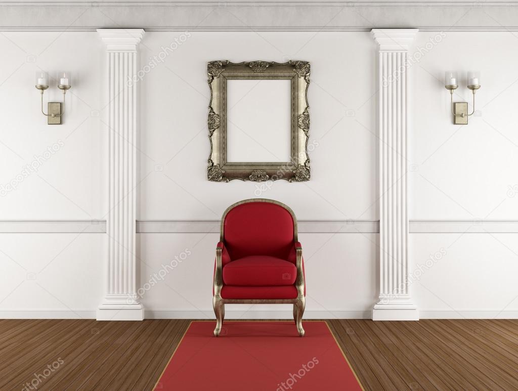 Rode Oor Fauteuil.Witte Klassieke Interieur Met Rode Fauteuil Stockfoto