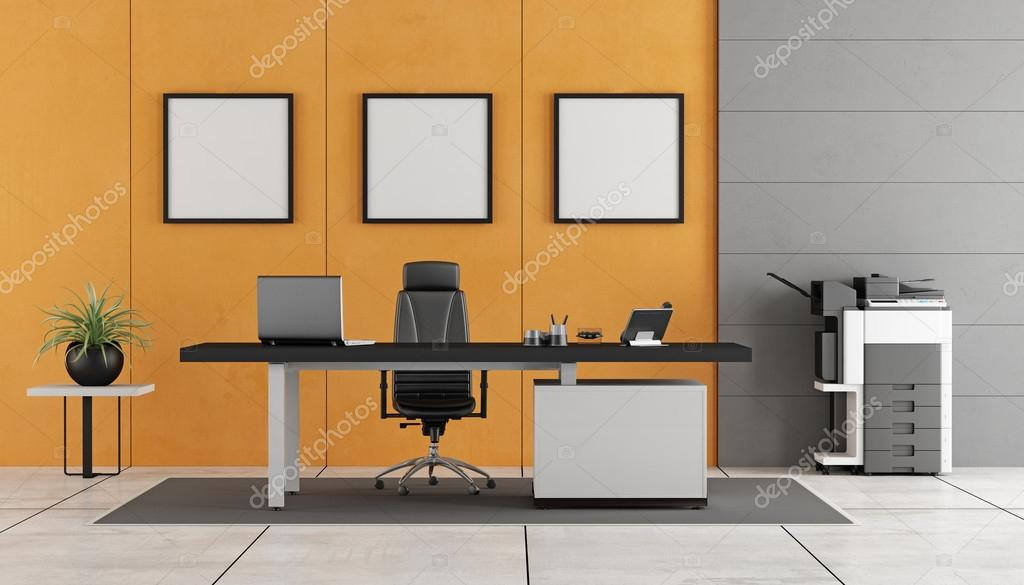Bureau moderne gris et orange u photographie archideaphoto