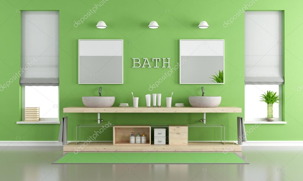 Stanza da bagno contemporanea verde e grigio con lavabi foto stock archideaphoto 124316058 - Stanza da pranzo contemporanea ...