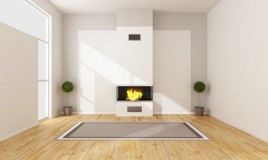 Modern fireplace in a empty room