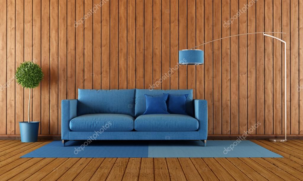 Holz- und blauen Wohnzimmer — Stockfoto © archideaphoto #59691249