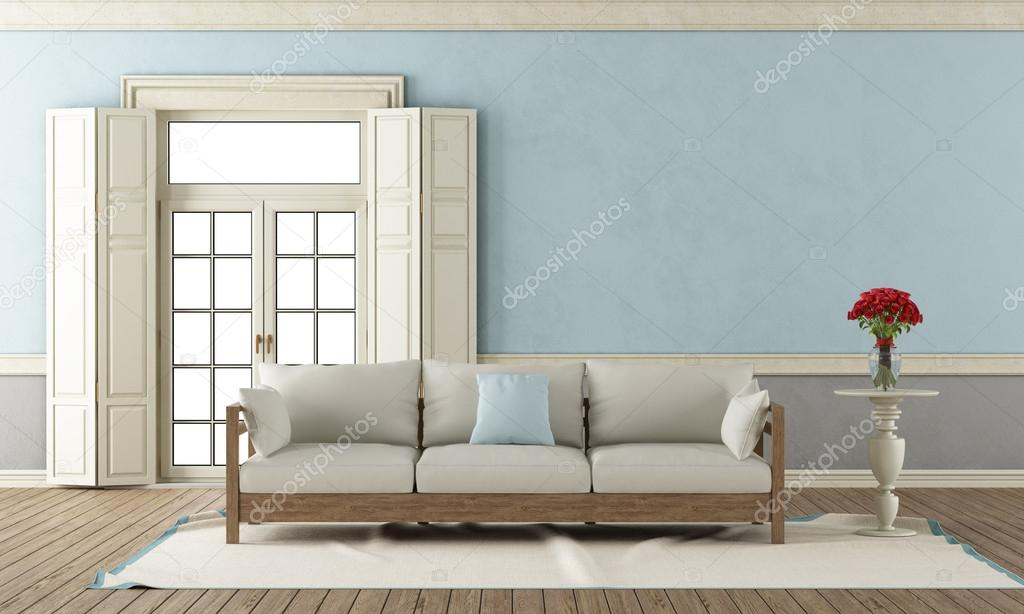Blauw en grijs woonkamer klassieke — Stockfoto © archideaphoto #59692033