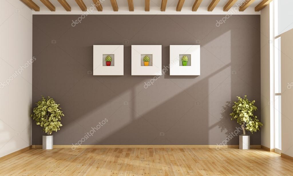 Leere Wohnzimmer Mit Braunen Wand U2014 Stockfoto