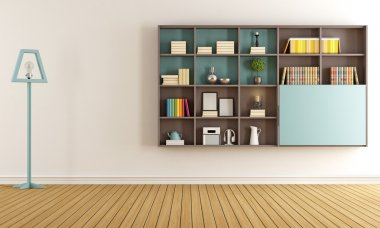 Living room with  modern bookcase