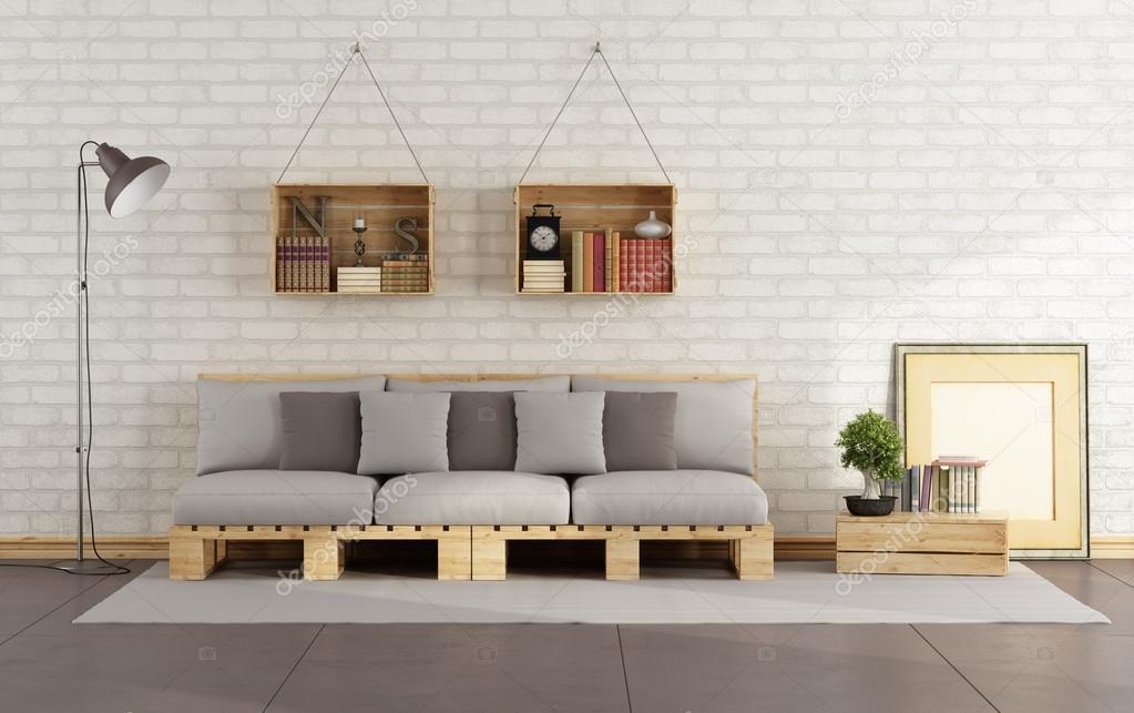 Soggiorno con divano pallet foto stock archideaphoto - Soggiorno con divano ...