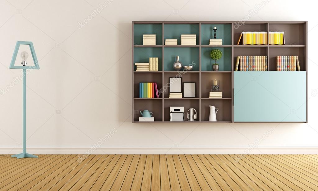 Woonkamer met moderne boekenkast — Stockfoto © archideaphoto #77969168