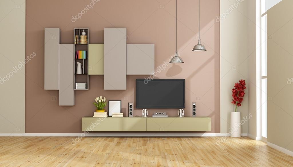 Eigentijdse lounge met tv toestel u stockfoto archideaphoto