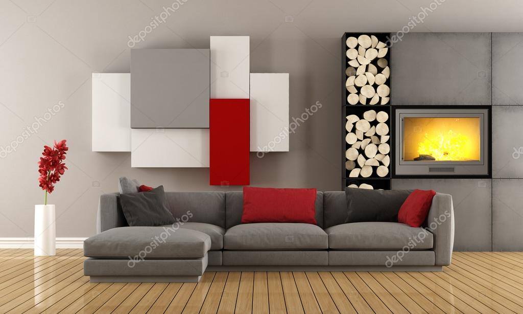 Eigentijdse lounge met open haard u2014 stockfoto © archideaphoto #85594226