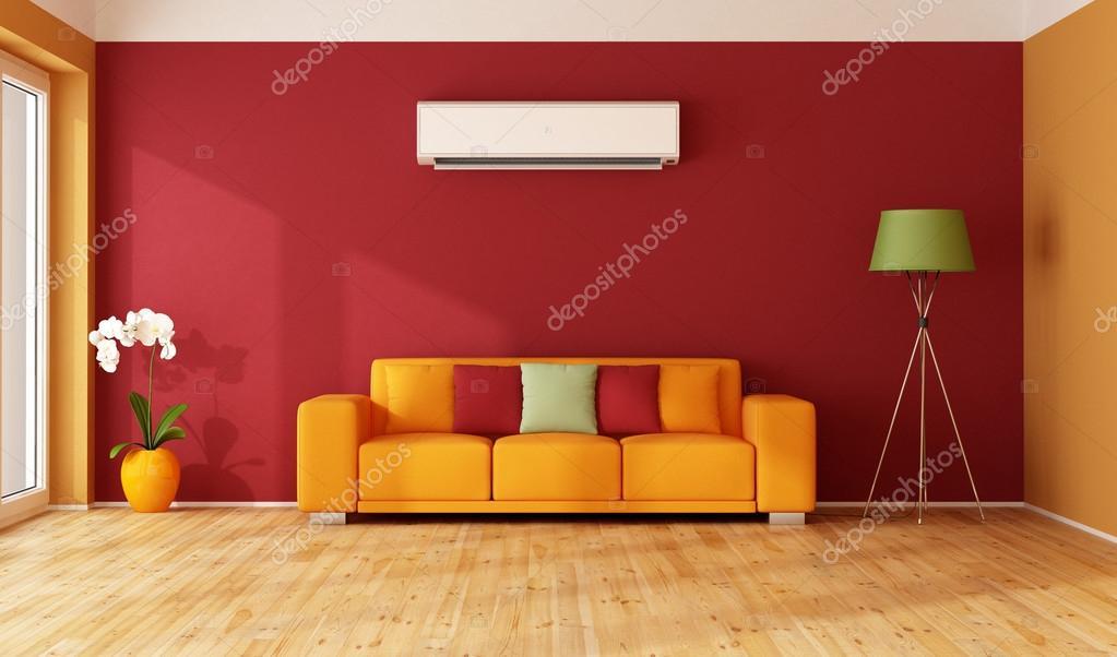 rot und orange Wohnzimmer — Stockfoto © archideaphoto #86203450