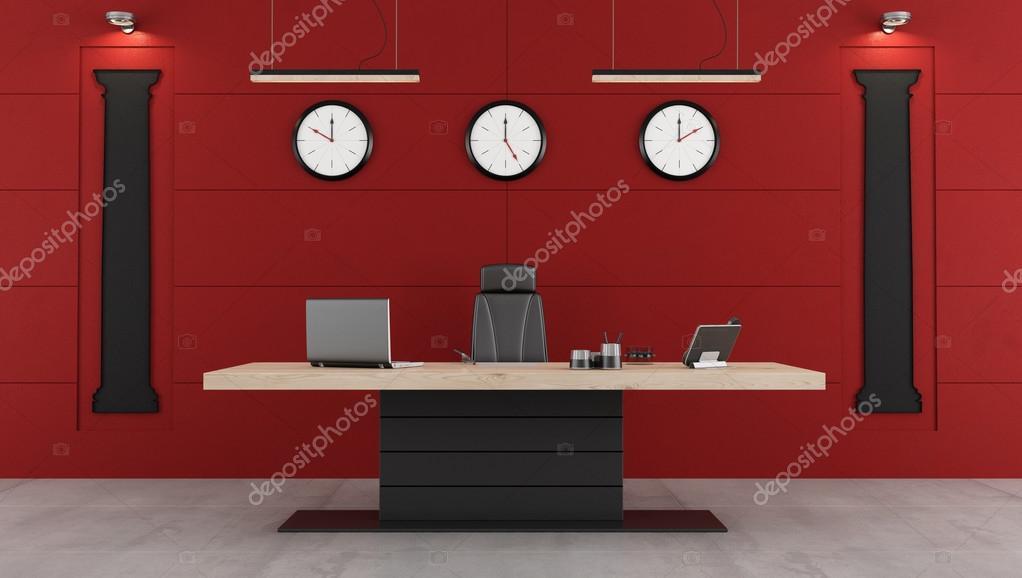 Bureau moderne rouge et noir u photographie archideaphoto