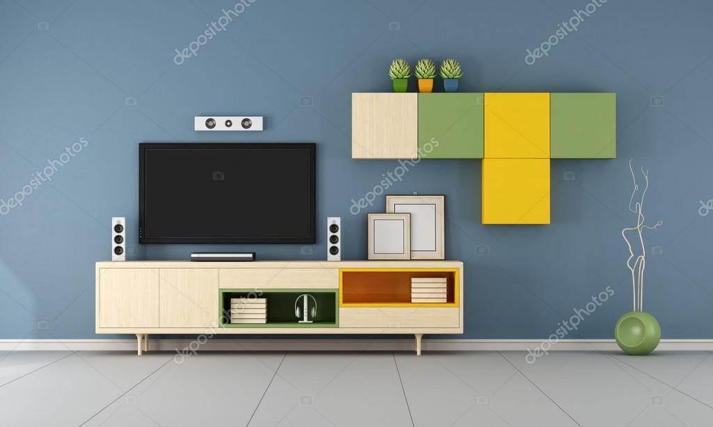 Contemporary Tv Wall Unit In Ablue Room Stock Photo C Archideaphoto 95681324