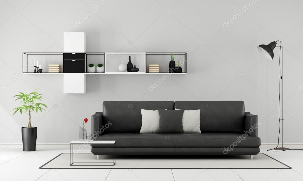Czarno Biały Salon Minimalistyczny Zdjęcie Stockowe